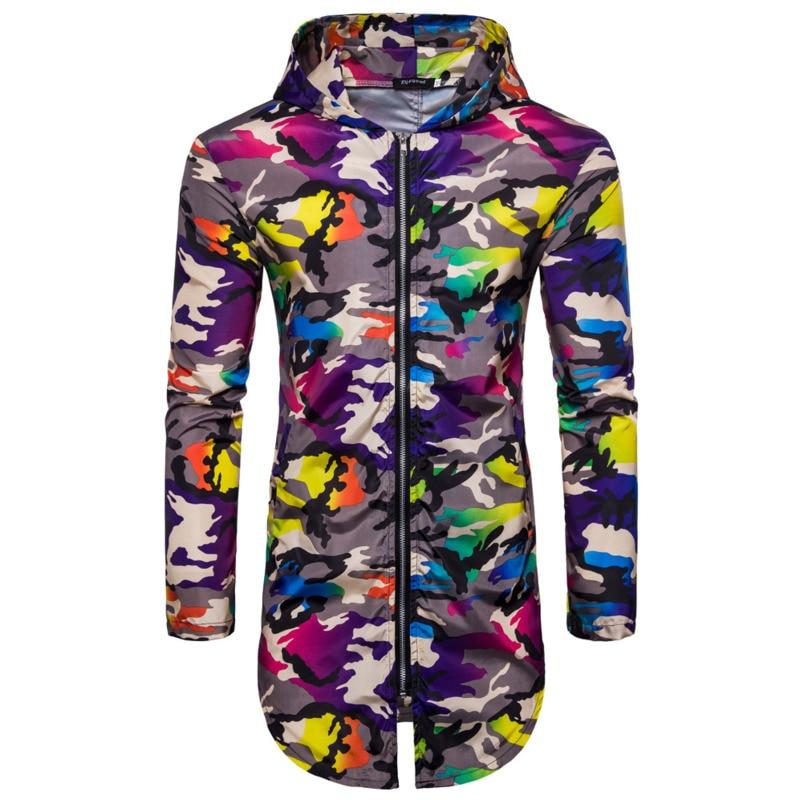 Spring and Summer hoodie Men Long men's fashion hoodies Casual hoodies Camouflage Sunproof Hooded zipper Sweat Cardigan