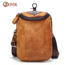 JOYIR New Brown Sling Bag Genuine Leather Men Messenger Bags Casual Travel Fanny Flap Male Small Retro Shoulder Crossbody Bag