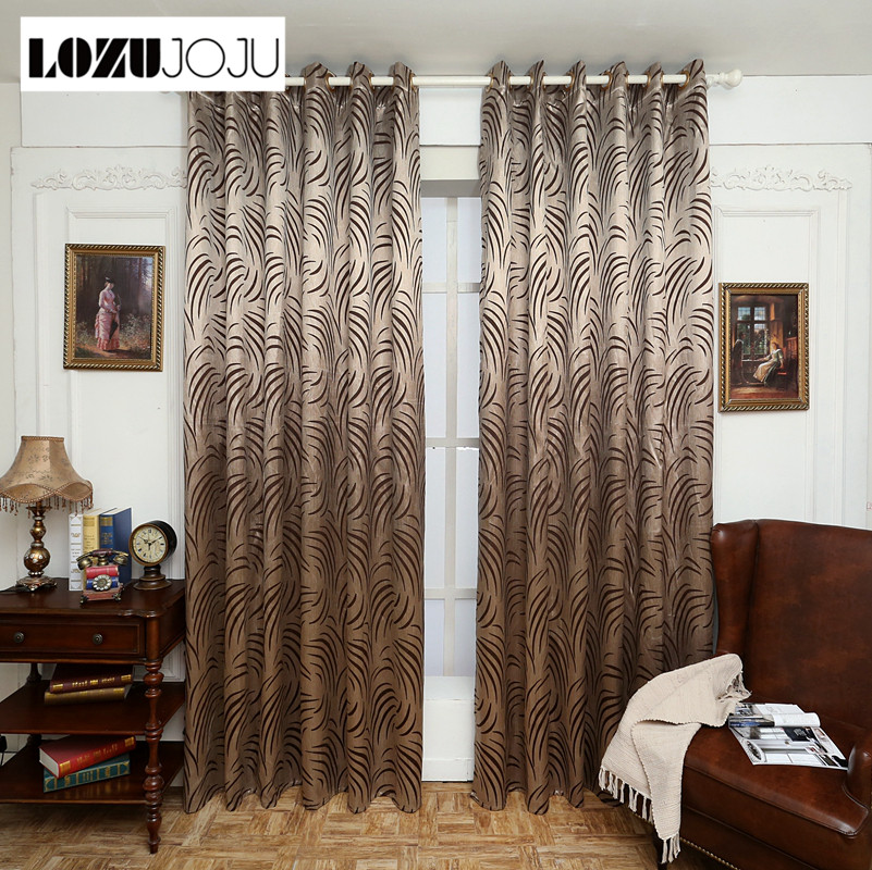 US $11.16 49% OFF|LOZUJOJU Geometry curtains for living room curtain  fabrics brown window curtain panel semi blackout bedroom curtains-in  Curtains ...