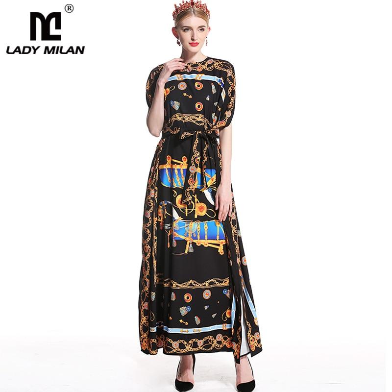 Lady Milan 2018 Womens O Neck Loose Design Printed Straight Sash Bow Belt Long High Street Casual Dresses