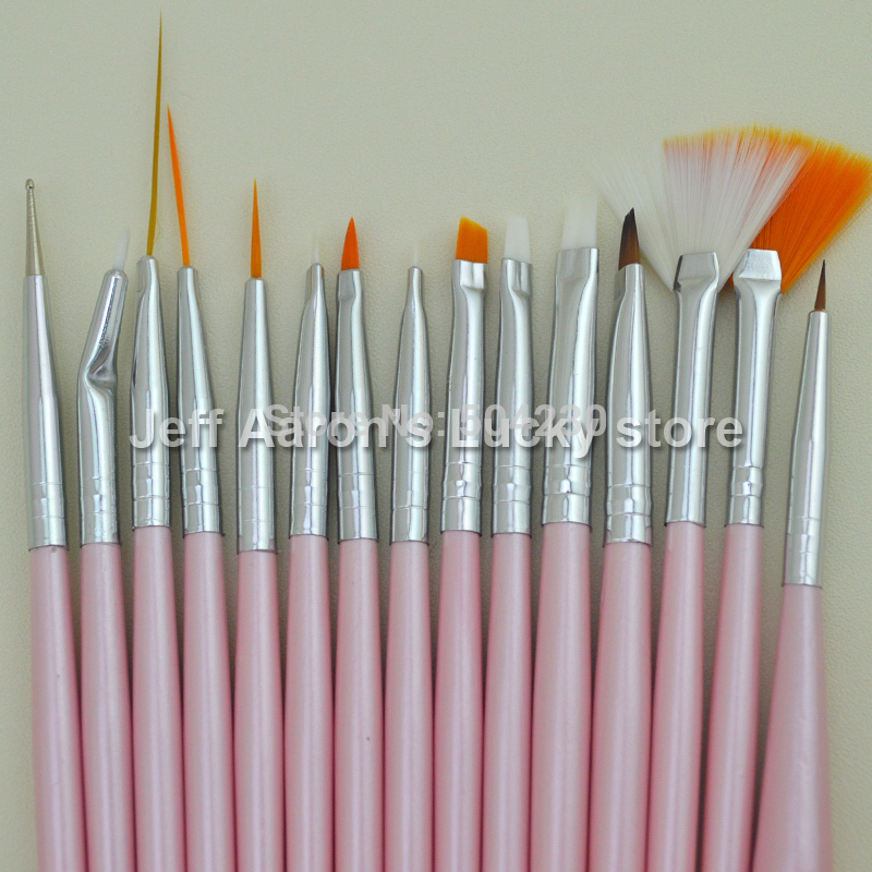 15 PCS Pearly Pink Acrylic Nail Art Brush Set Nail