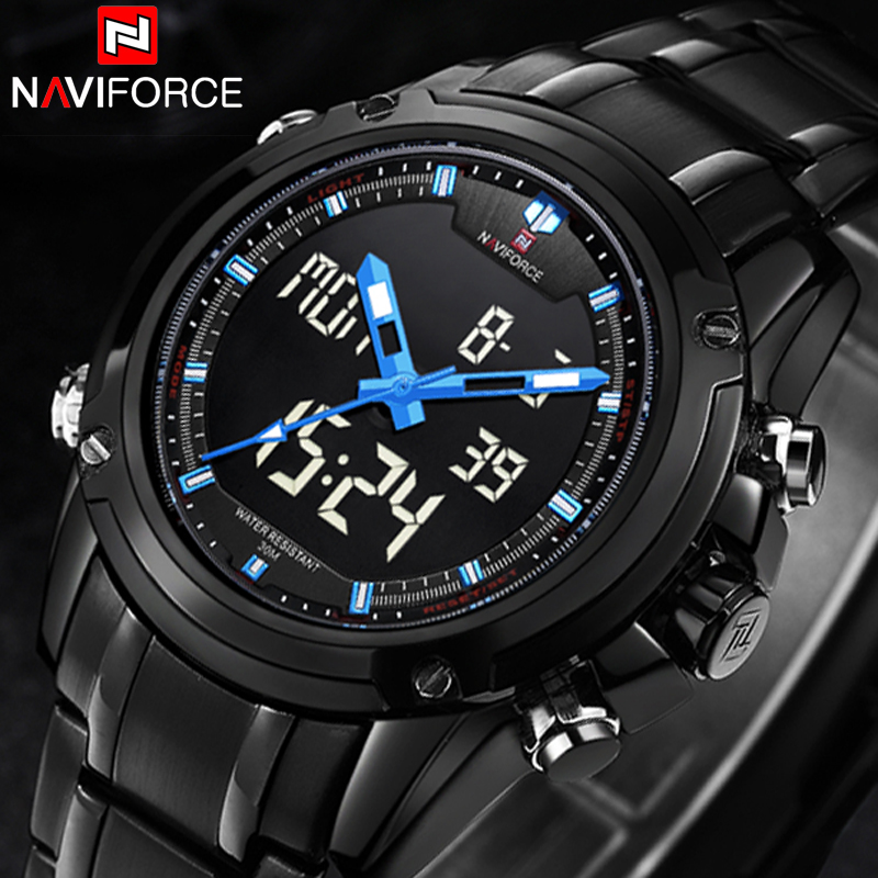 NAVIFORCE Mens Military waterproof Sports Watch Men Stainless Steel Fashion Digital Quartz Analog Wristwatches Relogio Masculino skmei men sports waterproof watch stainless steel fashion digital wristwatches