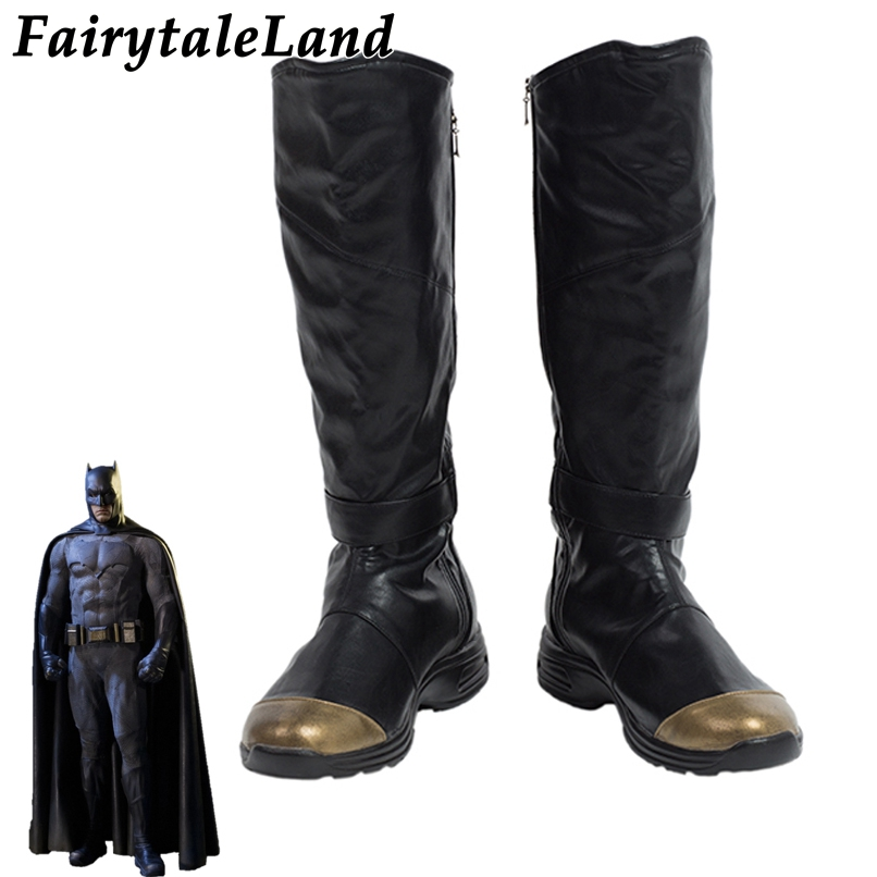 Justice League Batman Boots Halloween Cosplay Accessories Custom Made Superhero Batman Shoes Black leather Boots