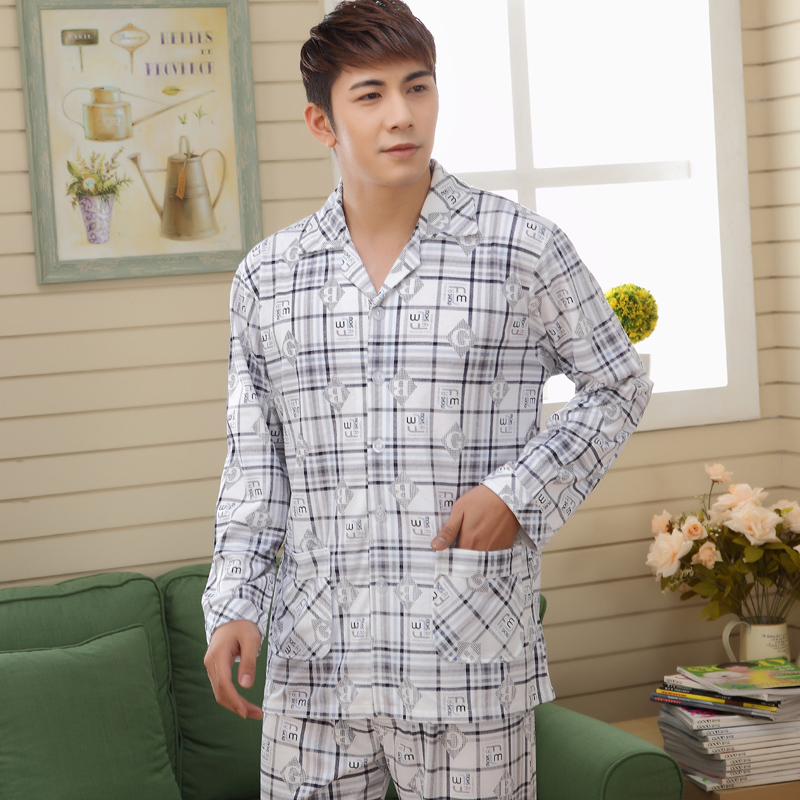 New Autumn Pyjamas Men Print Casual Cotton Sleepwear Mens Lounge Wear Loungewear  Pajamas pants set Size L-XL Sleepwear Sets