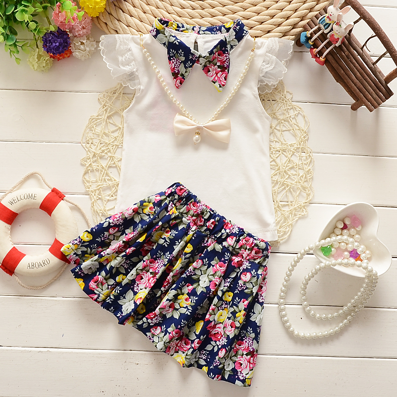 c280522ea BibiCola 2017 Summer Fashion girls clothing sets Casual Flowers printed kids  clothes brand cute t-shirt + Short skirt clothing