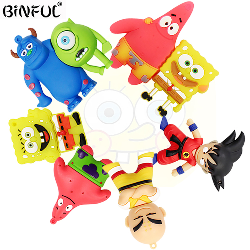 Cartoon SpongeBob Pen Drive Wukong Usb Flash Drive 64gb 32gb 16gb 8gb 4gb Memory Stick Pendrive Monsters University Mike One-eye