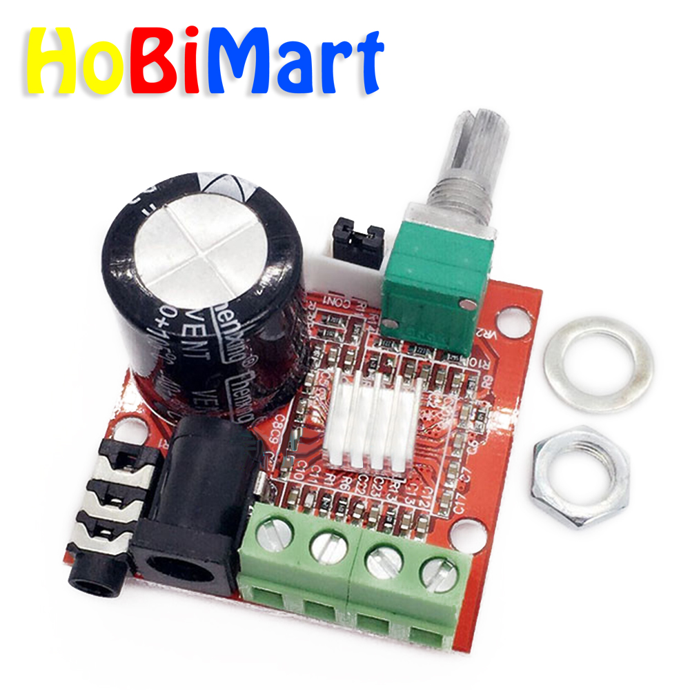 HoBiMart Small Digital Audio Amplifier 12 Volt Board 10W+10W Two Channel PC Power Amp Class-D Stereo Ampli Kit #LU03