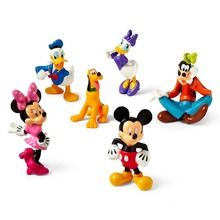 6pcs/set Disny Anime Toys Mickey Minnie Mouse Clubhouse PVC Action Figures Minnie Doll Anime Figurines Kids Toys For Boys Girls