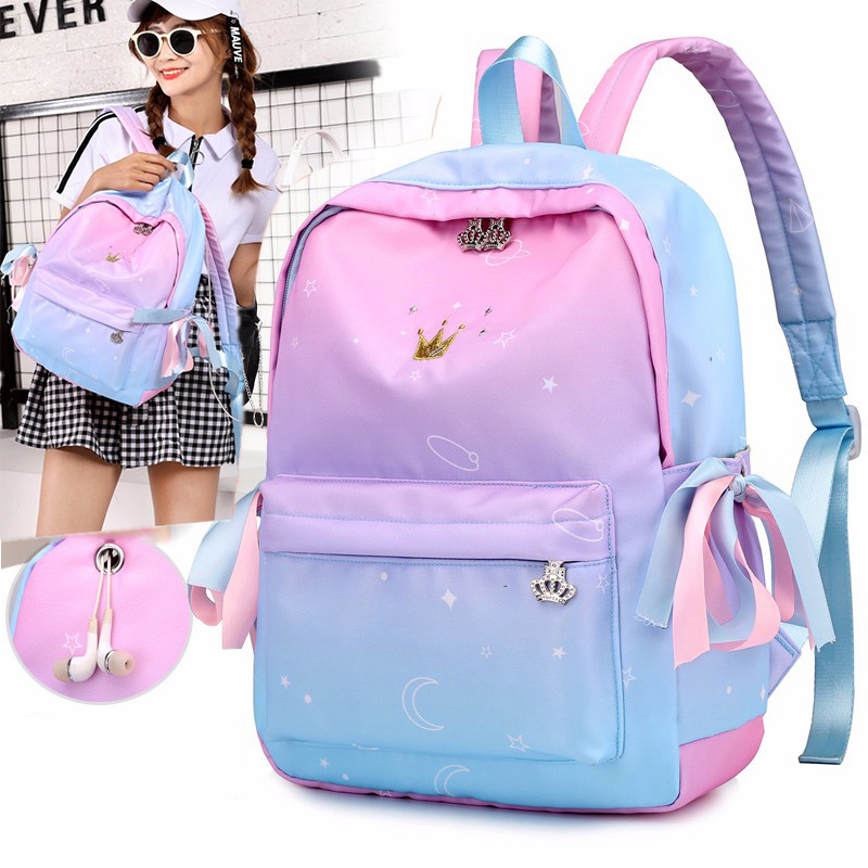 Female Children's School Bags Fashion Print Cute Girl Backpacks Children  Waterproof Travel Bag Mochila Escolar Com Rodinhas