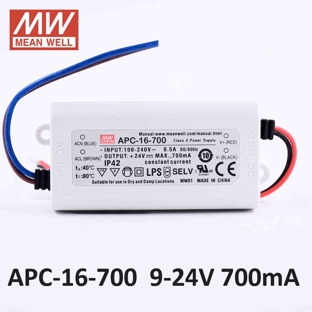 127~370VDC. Input: 90~264VAC 12-48V 350mA Constant Current Output: 16.8W Mean Well APC-16-350 LED Power Supplies
