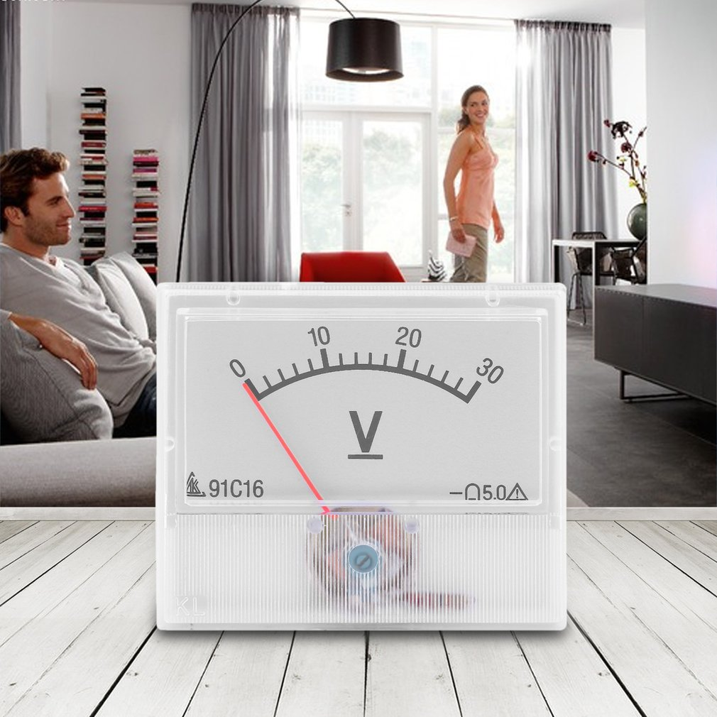 Professional <font><b>DC</b></font> <font><b>0</b></font>-<font><b>30V</b></font> Square Analog Volt Voltage Panel Meter Voltmeter Gauge QJ888 image