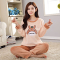 Pijama de Flanela Cheia Totoro Pijama Pijama Para Mulheres Trajes Adultos SleepWear Pulôver E Calças Set Homewear