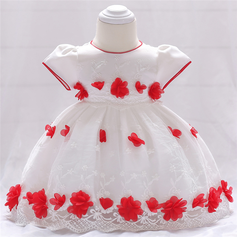0 1 2 years Baby Girl Dress Clothes Flower Appliques Embroidered o-neck Short Sleeve Baby Clothing Lolita Style Baby Lace Dress ...