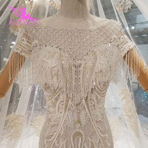 Image 1 - AIJINGYU Frocks düğün Couture abiye düğün 2021 2020 ipek kırpma üst türkiye hint uzun tren cüppe şeklinde gelinlik Vintage