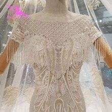 AIJINGYU vestidos de boda de alta costura, 2021, Top corto de seda, vestido de tren largo turco, Vintage