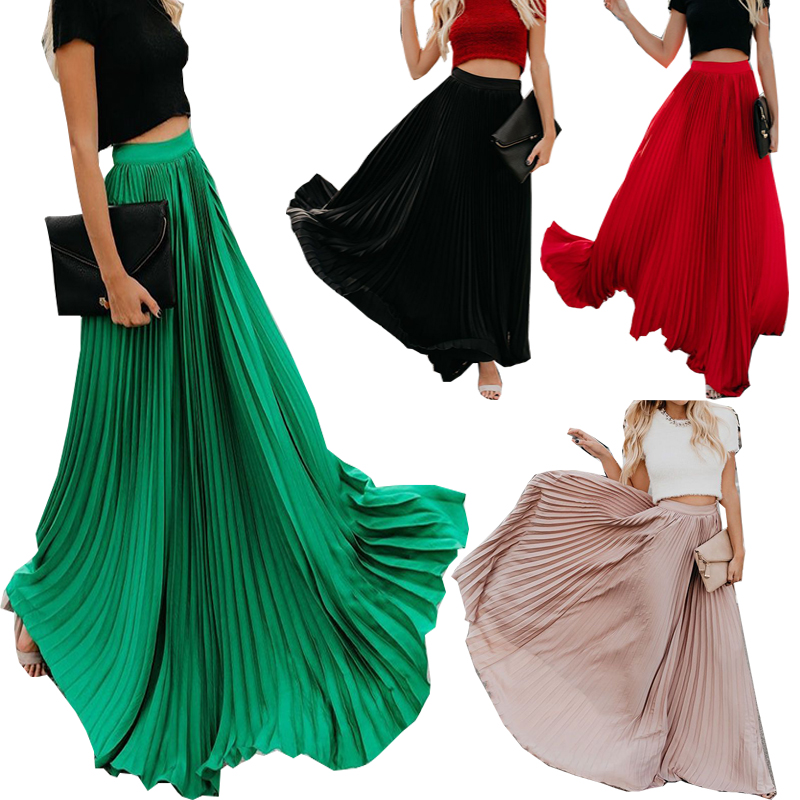 New Spring Summer High Waist Pleated Skirt Women Chiffon Skirt Long Skirt Solid Big Size Young Ladies Party Saia Femme 3xl