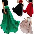 Женская шифоновая плиссированная юбка, длинная Однотонная юбка с высокой талией, большие размеры до 3xl, весна-лето