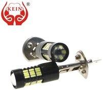 KEIN 2 шт. H1 светодиодный противотуманный светильник высокой мощности 6000K 4014 54SMD 12V H1 светодиодный автомобильный внешний DRL Дневной ходовой светильник