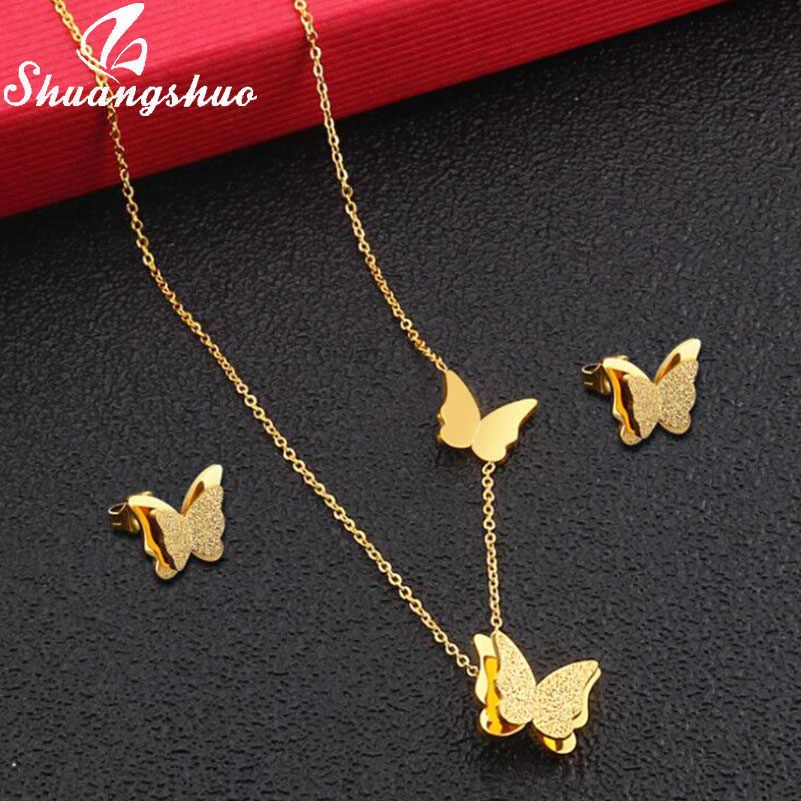 Shuangshuo זהב Butterflry תכשיטי סטים לנשים שרשרת עגילי סט נירוסטה שרשראות עגילי כלה תכשיטי colar
