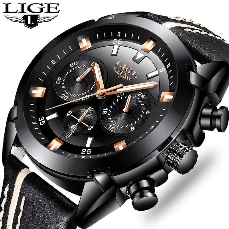 LIGE Mens Watches Top Brand Luxury Business Quartz Watch Men Casual Leather Waterproof Sport Wrist Watch Relogio Masculino+Box 2017 mens watches top brand luxury lige men s leather quartz watch men waterproof fashion casual wrist watches relogio masculino