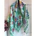 Nueva marca De Lujo de Las Mujeres de la Bufanda de Seda Patrón de Flores Edge Manual BY1722420 Pañuelo Para Mujer Accesorios de Vestir de Alta Calidad