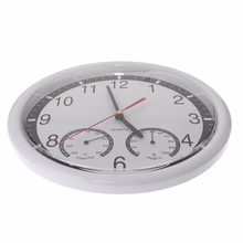 10″ Silent Wall Clock Decorative Thermometer & Humidity Meter Non-ticking Au24 Dropship