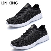 LIN KING Comfortable Mesh Knit Unisex Casual Shoes Fashion Lace Up Low Top Men Single Shoes Spring Autumn Man Flats Sneakers