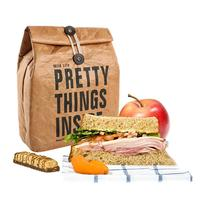 10pc Paper Bag Nordic Style Lunch Washable Kraft Insulated Ice Pack Lunch Bag Durable Plastic Free Gift Bag