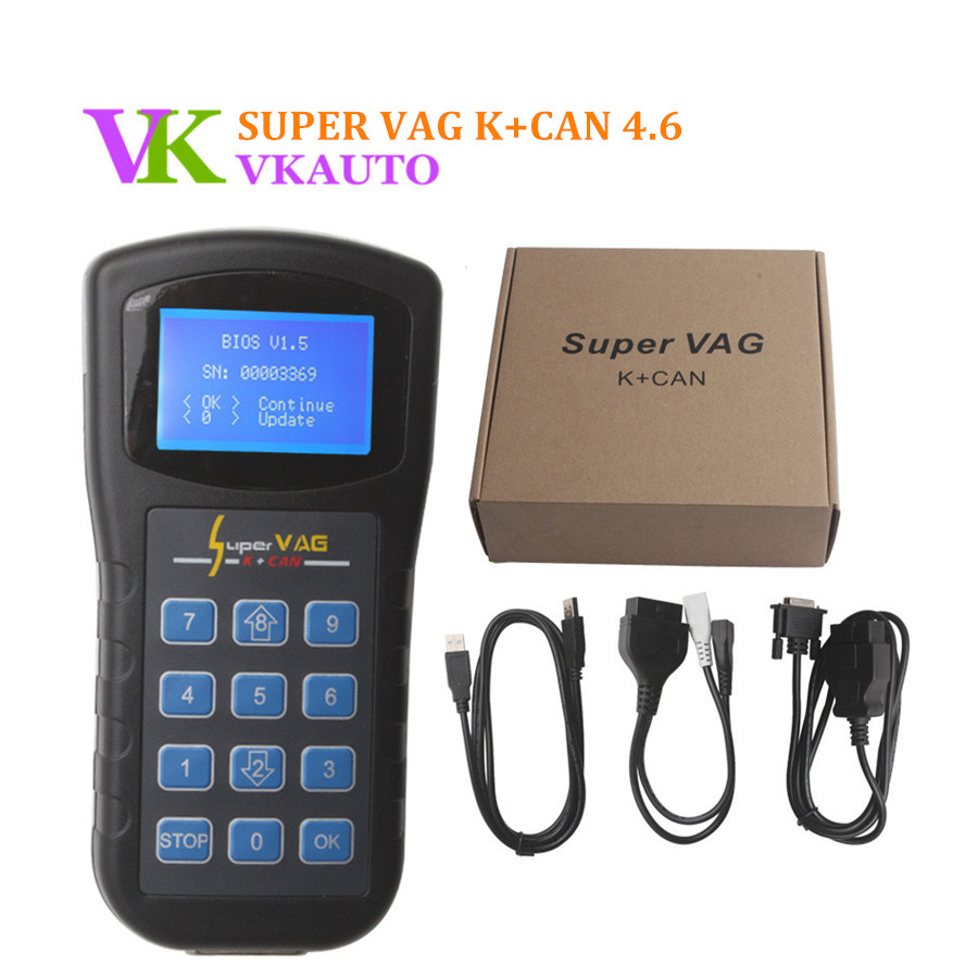 Super <font><b>VAG</b></font> K + CAN V4.6 Diagnose for Odometer Correction Airbag Reset Key Programmer Free Shipping image