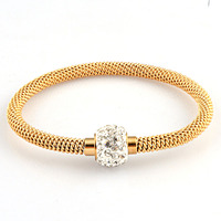 Hot Sale Women Men Crystal Magnetic Cable Bracelet Silver Gold Stainless Steel Twisted Cable Wire Cuff