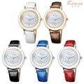 De luxo Da Marca KIMIO Relógio de Couro Genuíno Relógios De Quartzo das Mulheres Maduras Moda Banhado A Ouro Cristal Vestido Relógio de Pulso Japão Movt