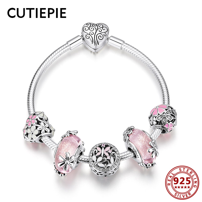 CUTIEPIE Luxury 100% Real 925 Sterling Silver Pink Flower Heart Beads Charms Bracelets for Women Wedding Romantic Jewelry GiftsCUTIEPIE Luxury 100% Real 925 Sterling Silver Pink Flower Heart Beads Charms Bracelets for Women Wedding Romantic Jewelry Gifts