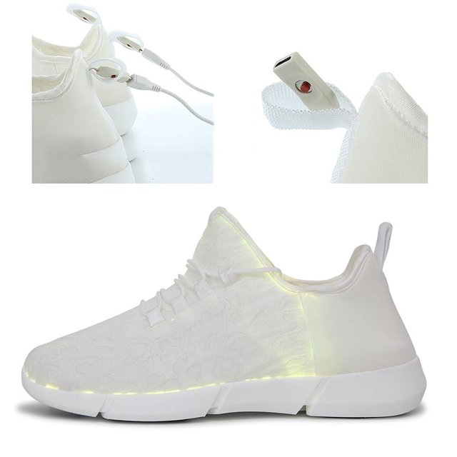 KRIATIV Luminous Sneakers Glowing Light Up Shoes for Kids White LED Sneakers Children Flashing Shoes with Light for Adult&Kid 2