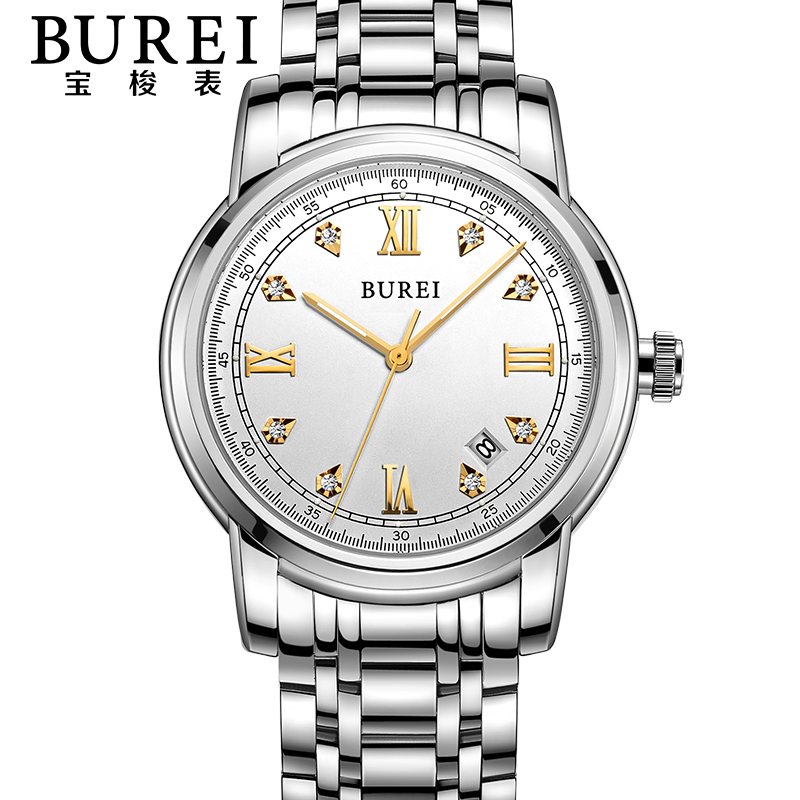 BUREI Business Crystal Sapphire Lens Men Automatic Mechanical Watch Waterproof Wristwatches With Premiums Package 15002 burei brand crystal sapphire men sports automatic mechanical watch waterproof male wristwatches with premiums package 15009