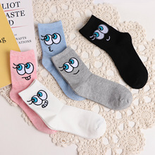 цены на Autumn Winter New Style Lovely  Cotton  Personality Big Eyes Cartoon Harajuku Cute Patterend Ankle Socks Women Funny Socks  в интернет-магазинах