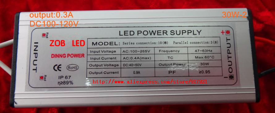 30w led driver ,DC100-120V,0.3A,high power led driver for flood light / street light,IP65,constant current drive power supply,