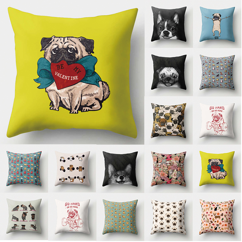 1Pcs Dog Bulldog Pattern Polyester Throw Pillow Cushion Cover Pillow Cover Living Room Cushions Home Decoration Pillowcase 40513