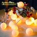 2 m 20 Bolas De Algodão Luzes Bege LED Fada Cordas Luzes De Natal Garland Início Quarto Decoração Festa de Casamento Aniversário