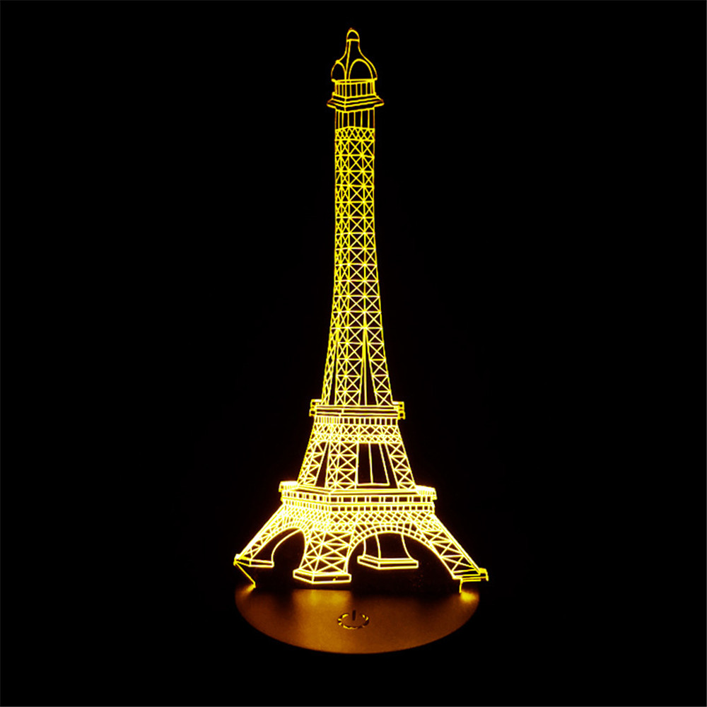 1Pack 3D lamp LED Night Light The Eiffel Tower 3D Illusion Night Lamp Table Desk Lamp Home Lighting Color Changing 5V USB