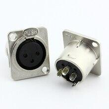 Металл 3pin XLR Женский разъем XLR гнездо для микрофона 3pin сиденья Аудио разъем 5 шт./лот