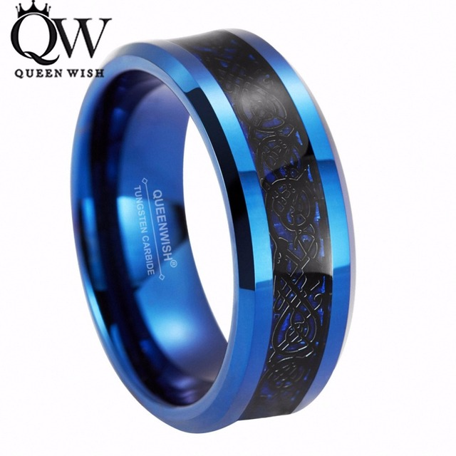 Queenwish 8mm Blue Tungsten Carbide Ring Black Celtic Dragon Inlay Mens Jewelry Wedding Band Size 6