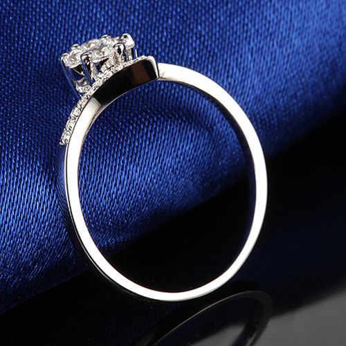 925 jóias de prata esterlina nunca se desvanece branco banhado a ouro especial hexágono anel de montagem de diamante sintético anel de noivado para a menina