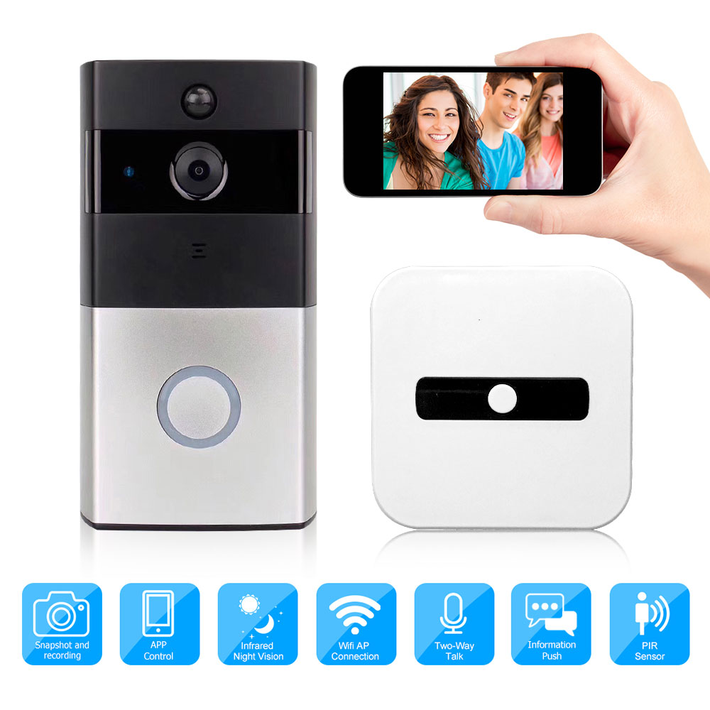 Video Doorbell Home Intercom WiFi Wireless Smart Camera IP Monitor Night 720P Door Bell Two-Way Audio APP Control IOS Android
