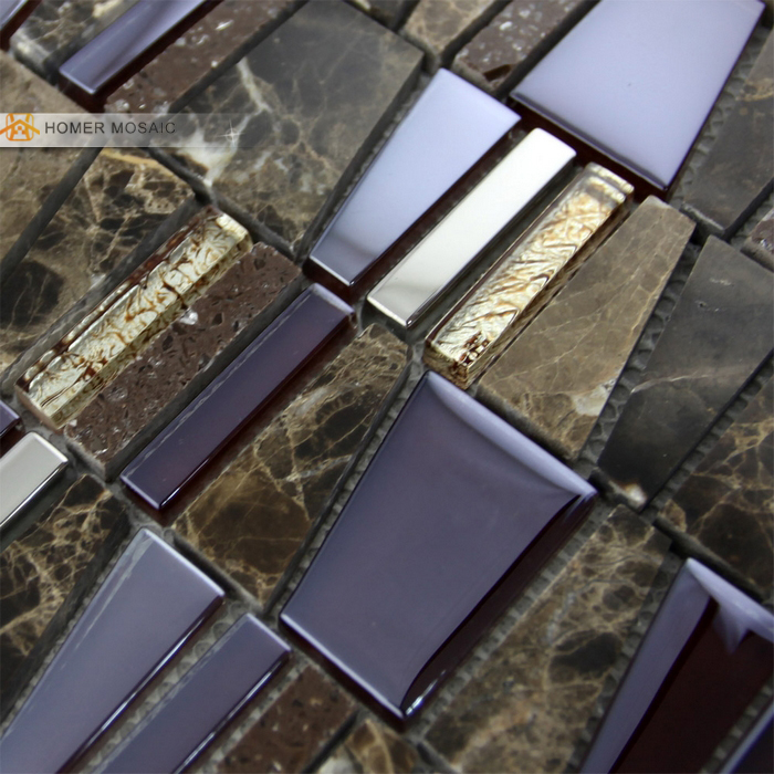 free shipping! unique design glass mixed marble wall mosaic <font><b>tiles</b></font>, HMM1016 for wall, floor and backsplash ect