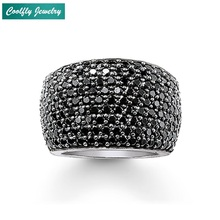 Trendy Style Black Zirconia Pave Cocktail Wide Finger Rings For Women Brand Glam Fashion Jewelry Bague For Valentine's Day Gifts