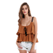 Sexy Women Summer Sleeveless Ruffle Hem Spaghetti Strap Casual Loose Solid Vest Tops FS99