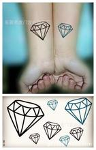 Body Art Waterproof Temporary Tattoos For Men Women Simple 3d Diamond Design Flash Tattoo Sticker HC1019