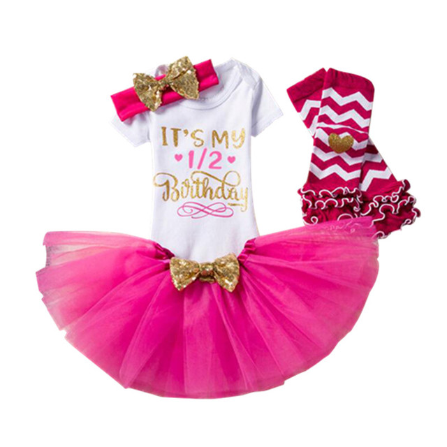 decdad86a 6 month baby girl tutu half birthday outfit infant newborn clothing set  3pcs imported baby clothes
