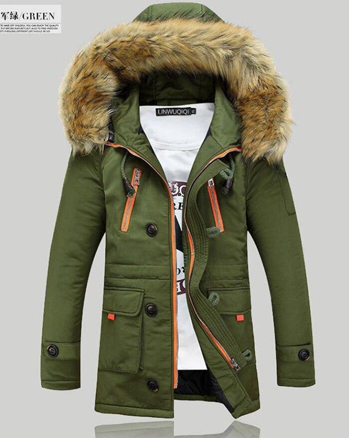 ФОТО Winter Hooded Parka Coats outdoors Fashion Casual medium-long Men's Clothing Winter Jackets Mens Thicken Warm Fur Collar Outwear