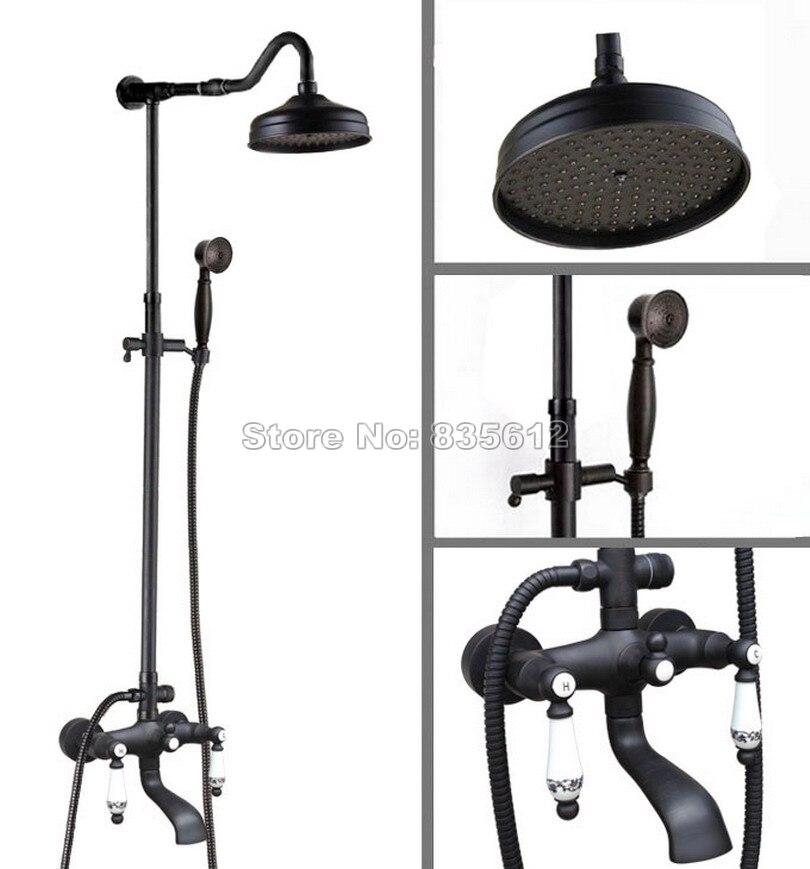 Bathroom Black Oil Rubbed Bronze Rain Shower Faucet Set/Hold Shower + Dual Ceramic Handles Wall Mounted Tub Mixer Tap Whg623